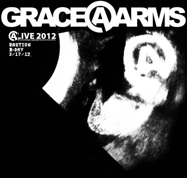 "Artwork designed by Bastion Crider of Grace at Arms (GRACE@ARMS) for a Grace at Arms t-shirt commemorating Bastion's and Chrysalis' birthday (""B-Day)"".  All art, design, logos, ""I CAME HERE TO ROCK"", @LIVE 2012, and B-DAY are copyright 2012 by Grace at Arms, Bastion Crider, Greg Crider LLC."