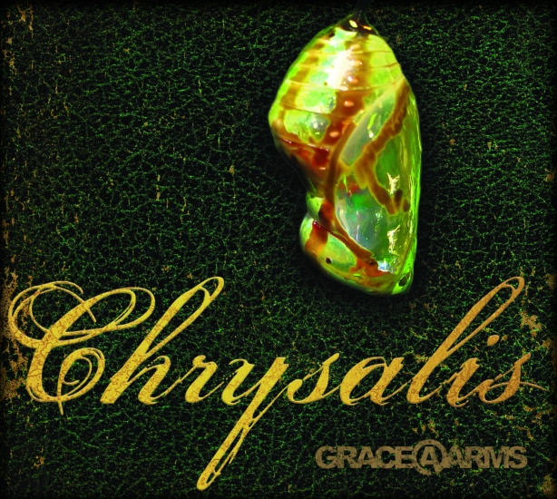 The cover of the album, Chrysalis, a 7-song LP album from rock band Grace at Arms (GRACE@ARMS).  Chrysalis was released March 1, 2011.  All songs, titles, art, photographs, and logos in Chrysalis, including those appearing on the cover, are copyright Bastion Crider, Greg Crider LLC, and Grace at Arms.