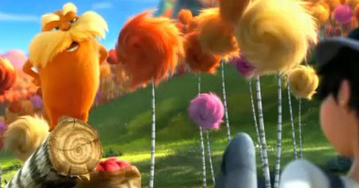 The Lorax and the Once-ler in the movie adaptation of The Lorax by Dr. Seuss, cropped by bastion Crider of Grace at Arms (GRACE@ARMS).