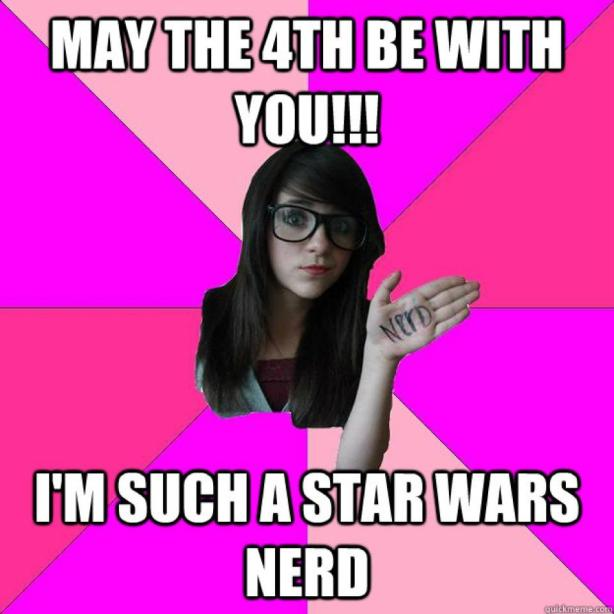 An internet meme making fun of people who pretend to be nerds picking on non-Star-Wars-fans celebrating Star Wars Day (May 4, 2012).